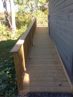 The 1:12 ramp provides wheelchair access to the deck.