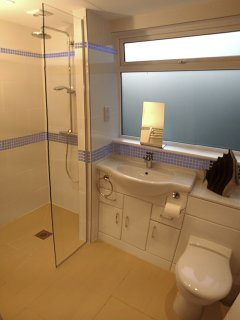 Ensuite Bathroom for the 1sr Master Bedroom, fully tiled with a walk in shower.