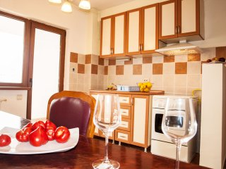 Spacious kitchen, with large balcony overlooking the center