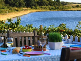 Stunning views for evening meals in the garden at The Boathouse
