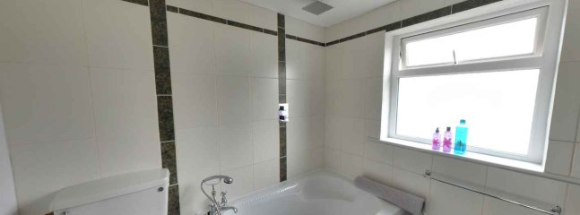 Upstairs bathroom with quadrant bath, shower over bath, toilet and sink.