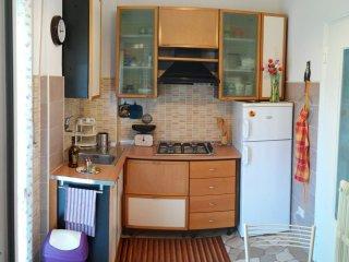 Cucina ben fornita di stoviglie, frigorifero capiente per il vostro necessario