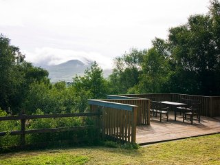 Mountains of the Iveragh peninsula from the decked area of the property