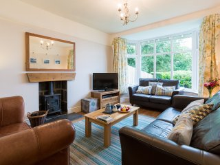 Tegfryn Lounge with Sea Views and Woodburner