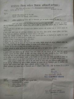 Registration letter from Uttarakhand Tourism Department