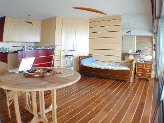 Apartment with balcony, furnished as a boat