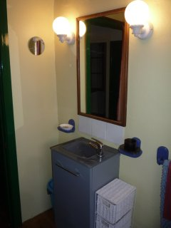 The wash basin in the shower room