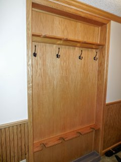 Recessed ski rack in hallway