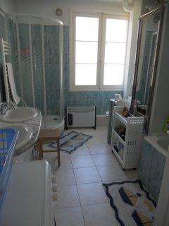 salle de bains côté fenêtre avec douche, sèche-serviettes, coin WC