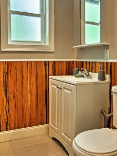 This half bathroom provides extra space for the group to get ready for the day!