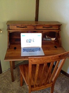 There is a small desk in the master bedroom if you need a quiet place to work.
