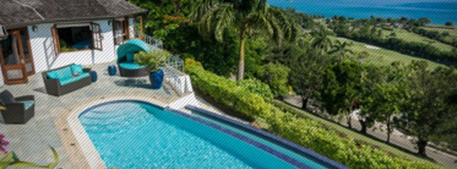The Tryall Club's expansive Great House pool with Caribbean Sea, horizon views, and large sun deck with chairs and ...