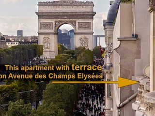 Terrace on Champs Elysee avenue
