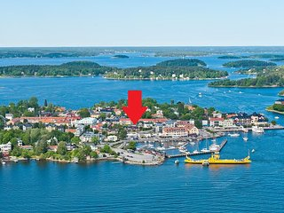 Vaxholm center with the location of the cottage
