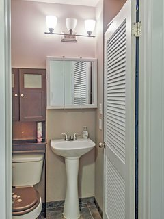 Rinse off the day in this bathroom.