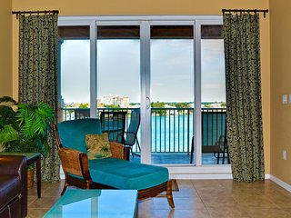 Water views from the living room