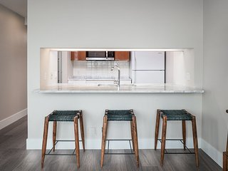 Kitchen island with seating.