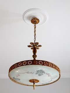 Bedroom 2 - a wonderful ceiling light from the 1950s, original to the house
