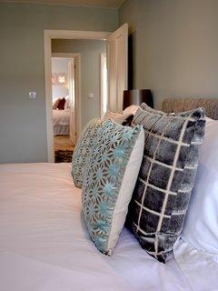 Sumptuous cushions in the Aqua Room