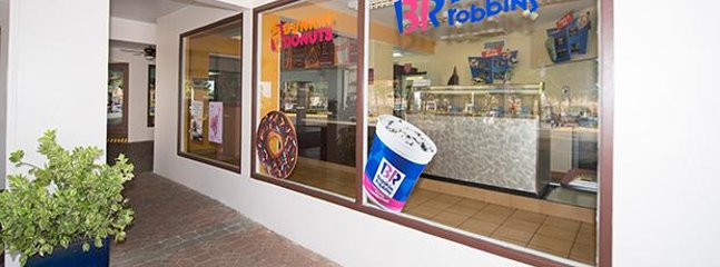 Dunkin Donuts & Baskin Robbins located by the front lobby.