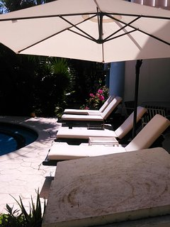 Large Umbrella and Plenty of Lounge Chairs