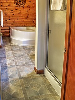 The master bathroom comes with a full shower and tub!