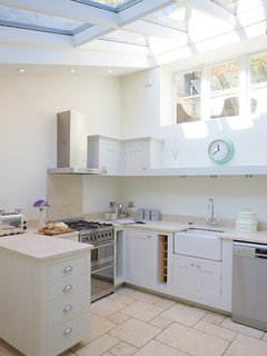Sun filled Kitchen well equipped for guests to cook or a private chef.