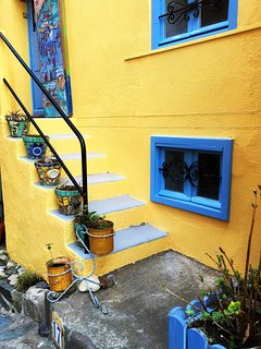 Lots of beautiful colours in the small pedestrian streets around the house