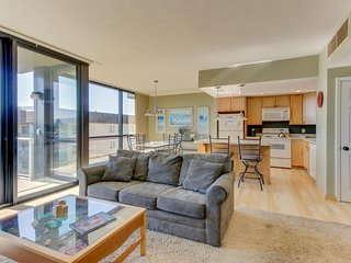 Dog-friendly condo with beautiful views, cozy fireplace, and shared pool!