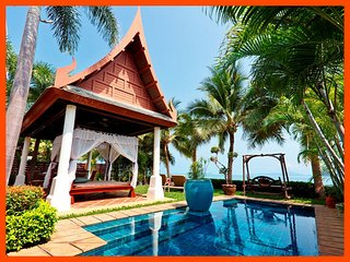 Villa 93 - Beach front luxury with Thai chef service and shared gym, Mae Nam