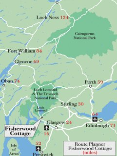 Route planner Miles for Fisherwood Cottage.