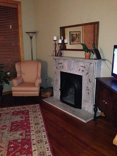 Marble fireplace in the living room.