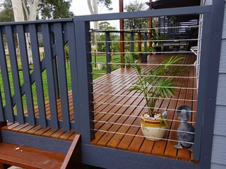 Gated entrance to deck leading to private entrance to Little Finchley