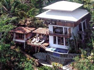 The 5-level villa built on a hillside overlooking the ocean.