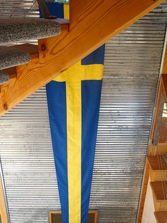 Three story Swedish flag, of course.