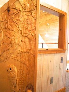 Hand carved door to the secret kids area!
