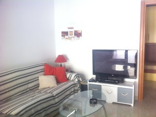 main living are with tv and couch can pull out as double bed