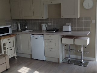 The kitchen area is equipped with a fridge, combination microwave, induction hobs, kettle, toaster.