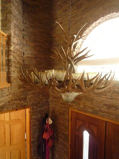 Entry chandelier- resin, not real, for you deer lovers! :-)
