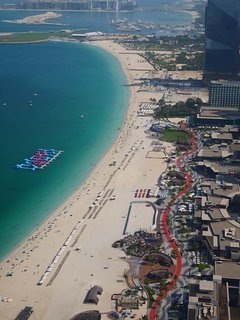 'View of JBR walk from the building towards the palm'