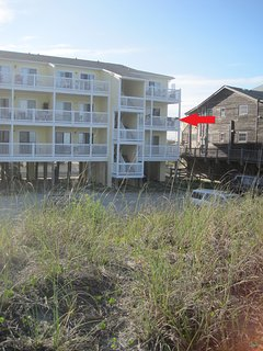 Enjoy this ocean front deck. arrow points to your deck