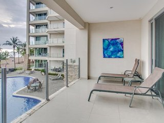 Enjoy oceanfront views, multiple shared pools, beach access and nearby town!