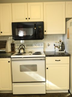 Electric stove, over the range microwave, refrigerator and plenty of cupboards for storage.