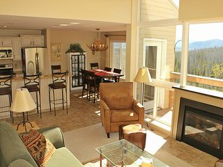 2 bedroom condo with mountain views, common hot tub access, and fireplace