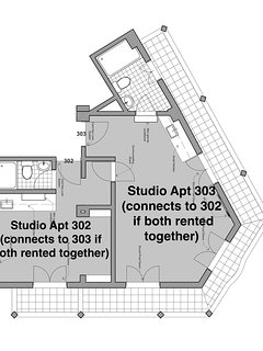 Floorplan showing this two bedroom unit: separately apartments 302 & 303 can be rented as studios; b