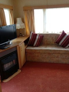 TV with freeview and DVD player.
