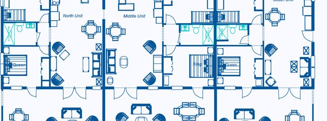 Crabtree Apartment layout.    The Middle unit # 2.  This unit connects with unit 3 for larger party.