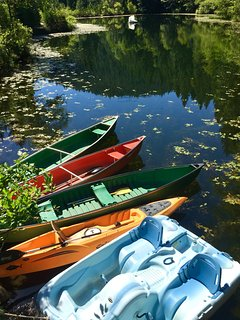Canoes, pedal boat and a kayak are kept at the main house lake for our guests.