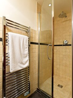 Bathroom with shower, basin & WC