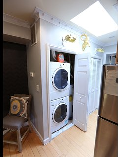 washer and dryer -- skylight hallway